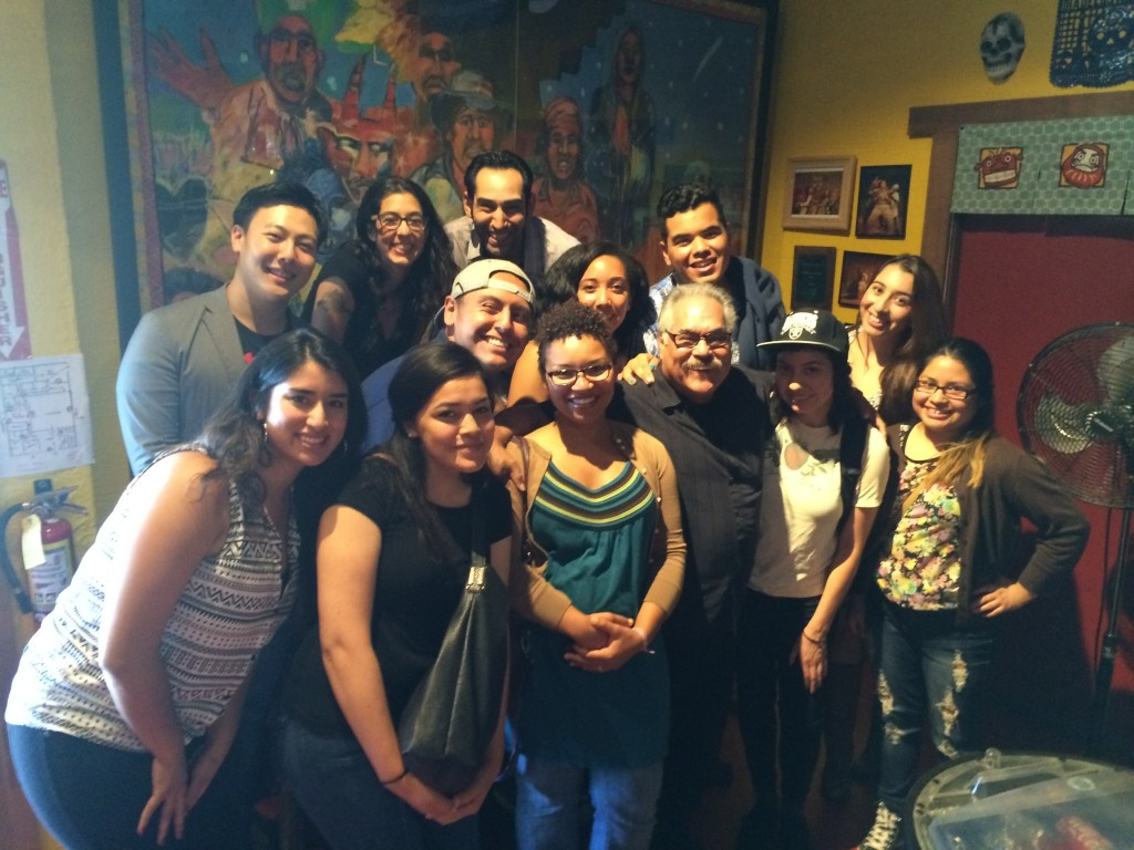 Teatro Project students and Performance Colectiva members with Luis Valdez at El Teatro Campesino