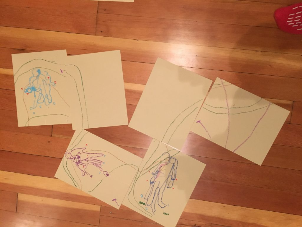 Participants developed these images as part of an exercise where they map their body based on their relationship to their kidney.