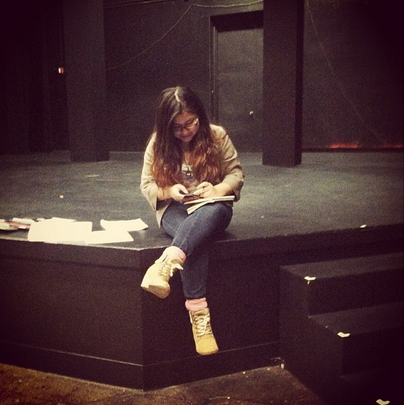 Natalie Sanchez on the stage of Durham Studio Theatre at the University of California Berkeley. Image courtesy of Natalie Sanchez.