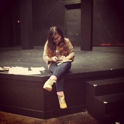 Natalie Sanchez on the stage of Durham Studio Theatre at the University of California Berkeley. Image courtesy of Natalie Sanchez.