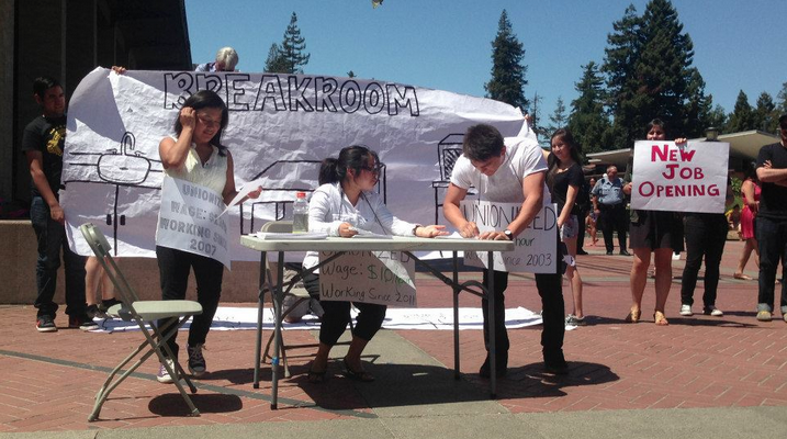 Natalie Sanchez (Center) with performers and other mechxistas at UC Berkeley. A performance about fair wages and rights for UC Workers